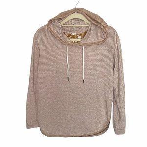 Hem & Thread Striped Lace Open Back Sweater Small
